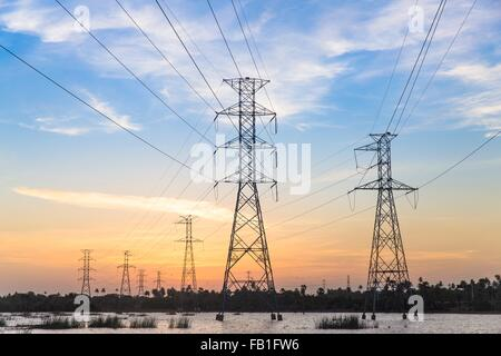 Electricity pylons in waterlogged field at sunset, Taiba, Ceara, Brazil - Stock Photo