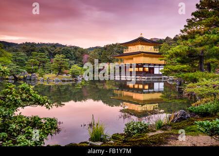 Kyoto, Japan at the Golden Pavilion at dusk. - Stock Photo