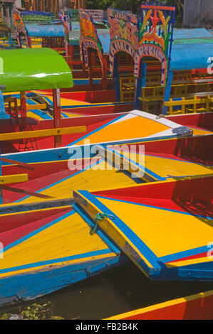 The colourful tourist boats of Xochimilco, Mexico City DF, Mexico, South America - Stock Photo