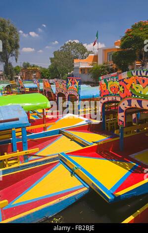 The colourful tourist boats in Xochimilco, Mexico City, Mexico, South America - Stock Photo