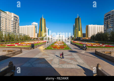Central Asia, Kazakhstan, Astana, Twin golden conical business centres - Stock Photo