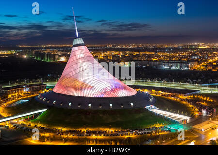 Central Asia, Kazakhstan, Astana, Night view over Khan Shatyr entertainment center - Stock Photo