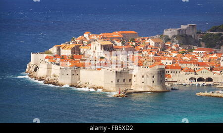Dubrovnik Old Town, view at Harbour and City Walls, Croatia - Stock Photo