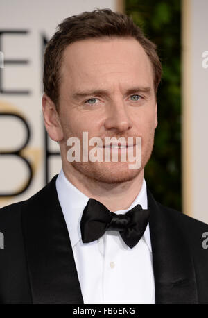 Los Angeles, California, USA. 10th January, 2016. Michael Fassbender arrives at the Golden Globes, Los Angeles, - Stock Photo