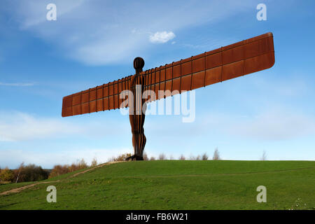 The steel sculpture by Sir Antony Gormley, of the Angel of the North, near Gateshead, England. - Stock Photo