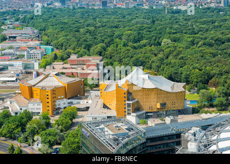 Berliner Philharmonie concert hall and Tiergarten park, Berlin, Brandenburg, Germany - Stock Photo