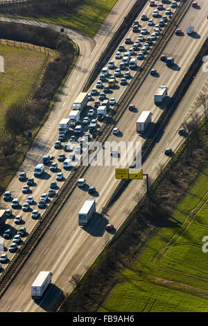 Aerial view, jam on the A40 bridge, before the Rhine bridge, closed to heavy traffic, Duisburg, Ruhr area, - Stock Photo