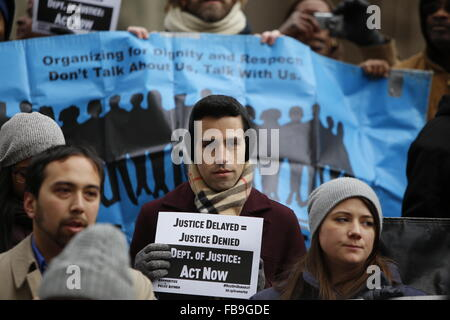 New York City, United States. 12th Jan, 2016. VOCAL members with signs stand before banner. The parents of slain - Stock Photo