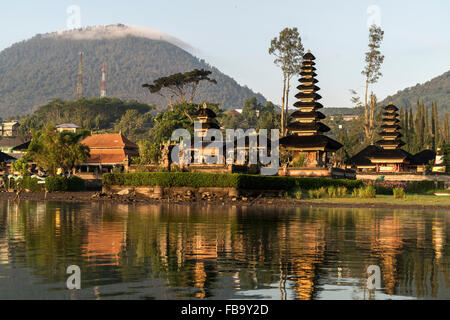 the major Shivaite and water temple Pura Ulun Danu Bratan on the shores of Lake Bratan, Bedugul, Bali, Indonesia - Stock Photo