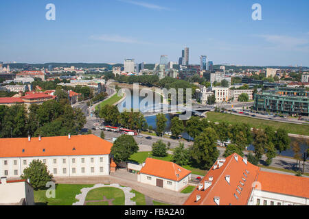 View from Gediminas Tower of the River Neris and modern skyline, Vilnius, Lithuania - Stock Photo