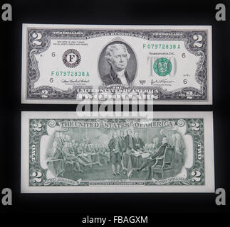 The front and back of a US 2 dollar bill. - Stock Photo