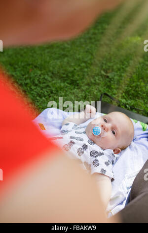 Finland, Mother with newborn son (0-1 months) - Stock Photo