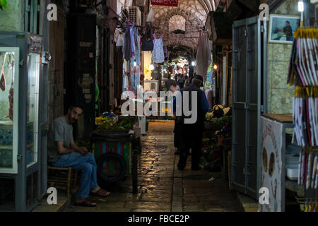 shops and traders in the old city alleyway, Jerusalem, Israel - Stock Photo
