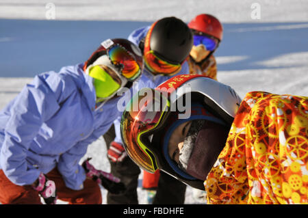 (160115) -- HOLONBUYR, Jan. 15, 2016 (Xinhua) -- People warm up before skiing during a winter sports meeting at - Stock Photo