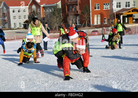 (160115) -- HOLONBUYR, Jan. 15, 2016 (Xinhua) -- People take part in a parent-child activity during a winter sports - Stock Photo