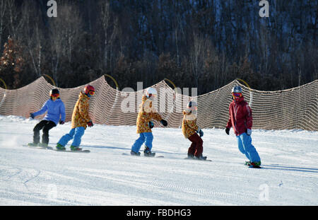 (160115) -- HOLONBUYR, Jan. 15, 2016 (Xinhua) -- Teenagers perform when skiing during a winter sports meeting at - Stock Photo
