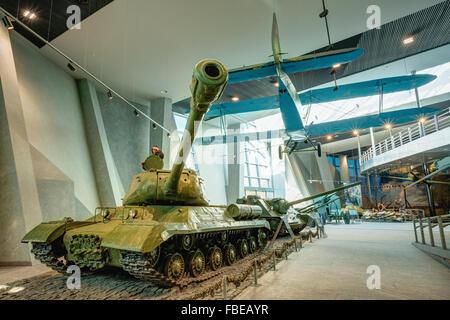 Soviet Russian light night bomber PO-2, heavy tank IS-2 in Belarusian Museum Of The Great Patriotic War in Minsk, - Stock Photo