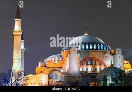 The Hagia Sophia in Istanbul at night - Stock Photo