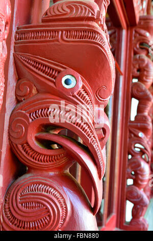 Detail of carving on the exterior windows of  The Carved Meeting House-(Te Whare Rūnanga )(the House of Assembly - Stock Photo