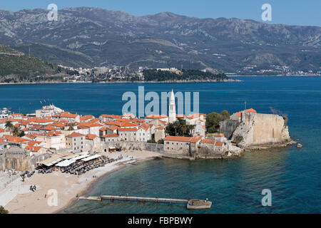 Part of the fortified old town of Budva in Montenegro - Stock Photo