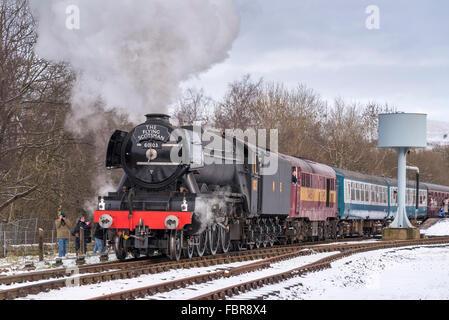 The newly restored Flying Scotsman locomotive on the East Lancashire railway. - Stock Photo