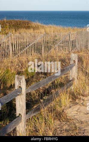 Sand Fences at Marconi Beach, on Cape Cod, Massachusetts, USA - Stock Photo