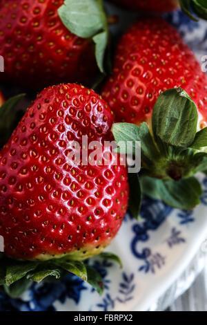 Ripe strawberry closeup - Stock Photo