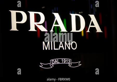 Markenname: 'Prada Milano', Berlin. - Stock Photo