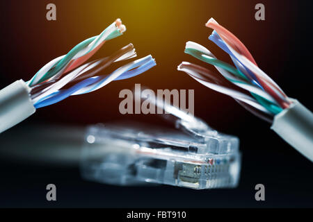 Broken internet cable, safe harbor statement - Stock Photo