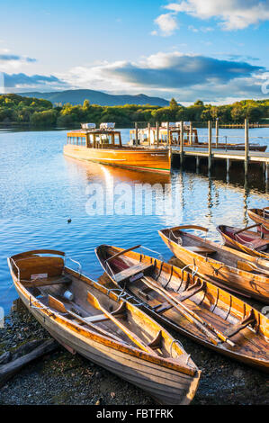 Wooden rowing boats and ferry Keswick Landing Stages Derwent Water Keswick Lake District Cumbria England UK GB EU - Stock Photo