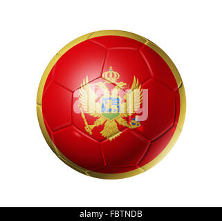 Soccer football ball with Montenegro flag - Stock Photo