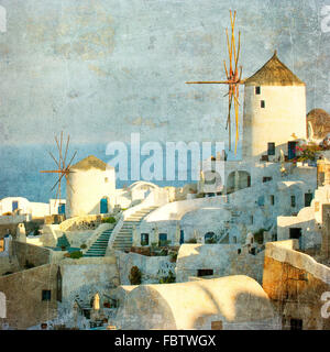 Vintage image of Oia village at Santorini island, Greece - Stock Photo