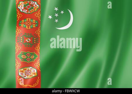 Turkmenistan flag - Stock Photo