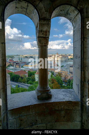 View from Fisherman's Bastion, panoramic viewing terrace on Castle Hill on Buda bank of River Danube in Budapest - Stock Photo