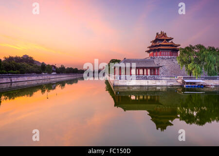 Beijing, China forbidden city outer moat at dawn. - Stock Photo