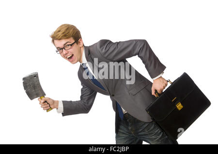 Young businessman with weapon isolated on white - Stock Photo