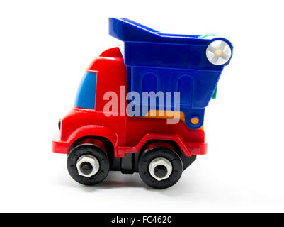 Color truck toy car Isolated on white background for logistic and supply chain concepts - Stock Photo