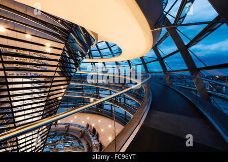 Wide angle interior view of The Dome of the Reichstag building at night, designed by Sir Norman Foster, Berlin, - Stock Photo