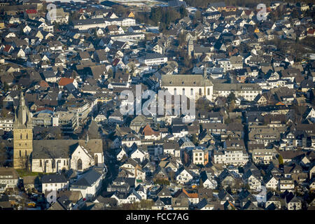 Aerial view, Propsteikirche St.Petrus and Andreas in the center of Brilon, behind St.Nikolai Church on Steinweg - Stock Photo