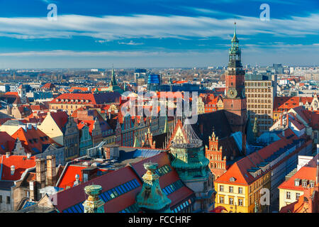 Aerial view of Wroclaw in the morning - Stock Photo