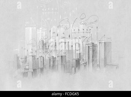 Background sketch image of construction project drawn with pencil - Stock Photo