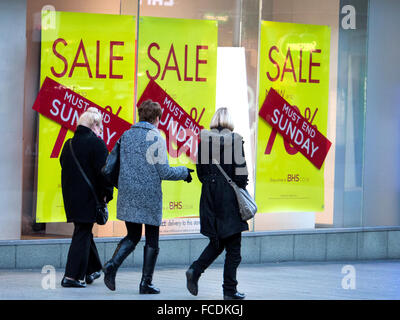 British Home Stores Shop displays a sale promotion in Southport during the January Sales. - Stock Photo