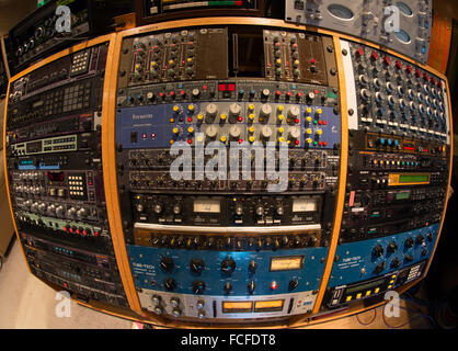 music recording studio effects rack, equalizers, compressors, digital delays, digital effects processors, harmonizers - Stock Photo