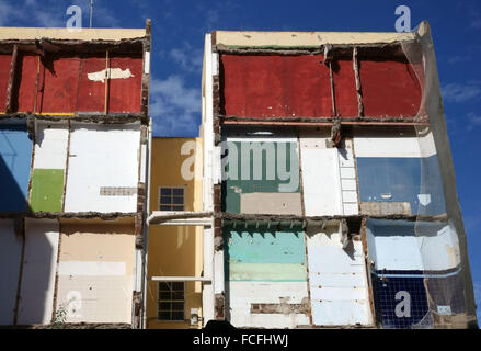 Exposed interior of building being demolished in Tenerife, Canary Islands, Spain - Stock Photo