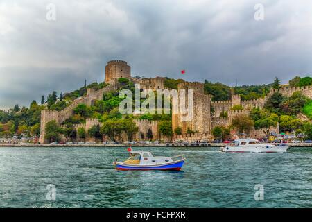 The Rumelihisar Castle along the Bosphorus near Istanbul, Turkey. - Stock Photo