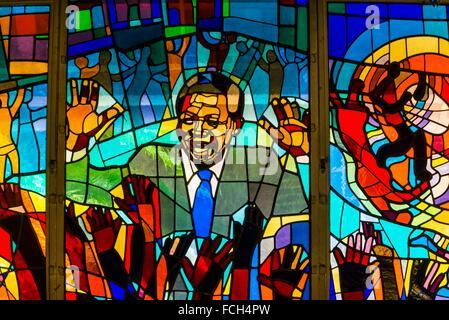 Nelson Mandela stained glass window at Regina Mundi Church, Soweto, Johannesburg, South Africa. It is the largest - Stock Photo