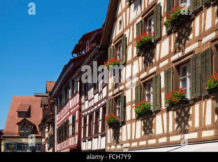 Germany Meersburg half-timbered houses - Stock Photo