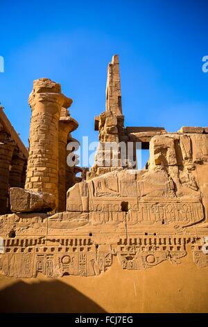 Karnak - Hypostyle Hall in Amun-Re Temple, complex of temples at Karnak, Luxor, Upper Egypt - Stock Photo