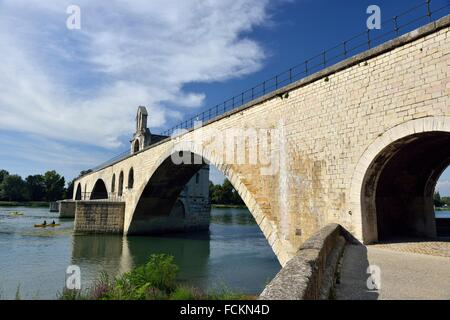 Pont Saint-Bénezet or The Pont d´Avignon on the Petit Rhône, Avignon, Vaucluse, 84, Provence-Alpes-Côte d´Azur, - Stock Photo