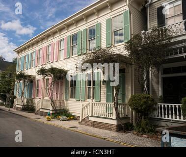Colorful row houses, historic district, Savannah, Georgia, USA - Stock Photo